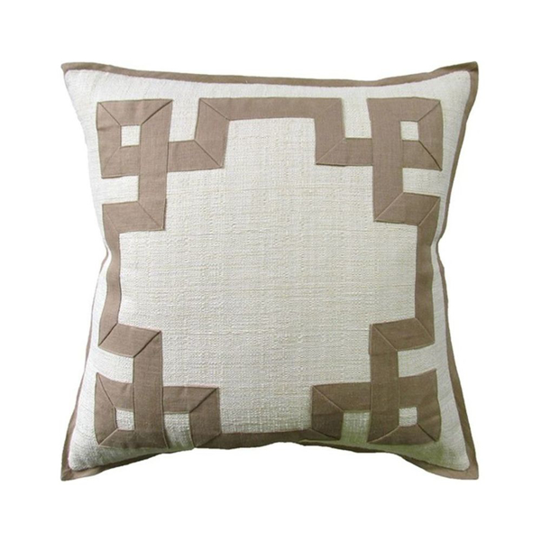 Picture of RAFFIA PILLOW, 22X22, CRM/KIWI
