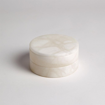 Picture of ALABASTER SWIVEL BOX, WHITE