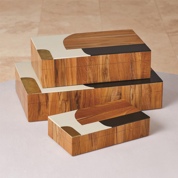 Picture of WOODEN INLAID BOX, LG, BLK/iV