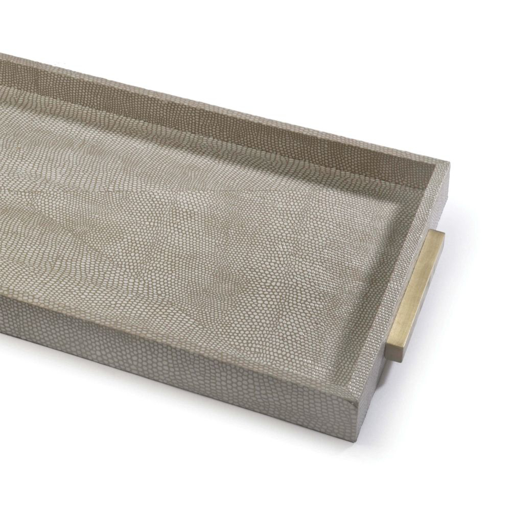 Picture of RECTANGLE SHAGREEN TRAY, IVORY