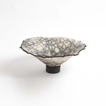 Picture of CRACKLED FOOTED BOWL, BLK