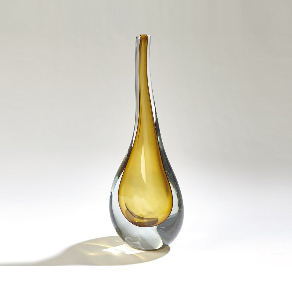 Picture of STRETCHED NECK VASE AMBER, LG